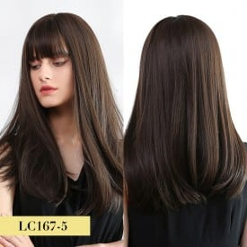 24 Inch Straight Hair Synthetic Ombre Black to Wine Red Wigs with Bangs