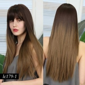 24 Inch Synthetic Heat Resistant Fiber Wigs Ombre Brown Wigs with Bangs