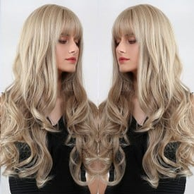 24 Inch Synthetic Long Ombre Brown to Blonde Wigs with Bangs