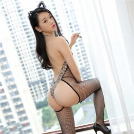 Lace Leopard Fishnet Back Open Bodystocking 06042