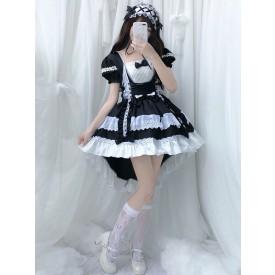 lolita OP dress Maid Two-Tone Black Ruffles Lolita One-Piece Dresses