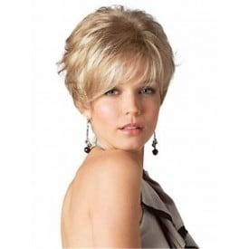 Short Curl Yellow Lady Wig