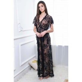 Short Sleeve Lace Floral Maxi Dress 1352