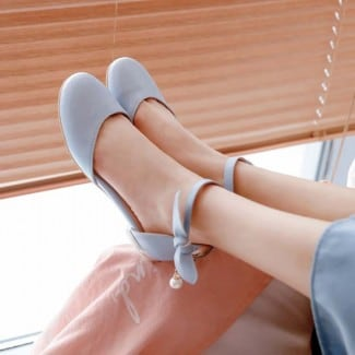 1 Inch Beads Bowknot Sweet Ankle Strap Sandal