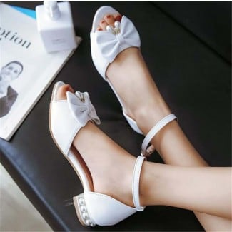 1 Inch Peep Toe Ankle Strap Bowtie Pearl Sandal
