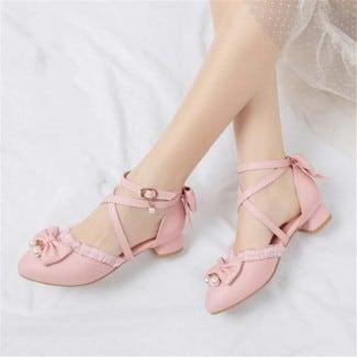 1 Inch Ruffles Lace Pearls Bowtie Lolita Sandal