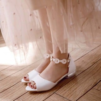 1 Inch Sweet Flower Peep Toe Ankle Strap Sandal