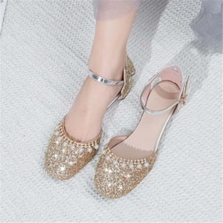 1 Inch Sweet Pretty String Beads Sequined Ankle Strap Sandal
