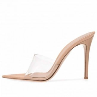 3 Inch PVC Transparent Pointed Open Toed Slipper