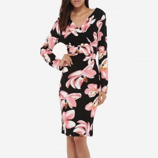 Floral V-Neck Long Sleeve Dress