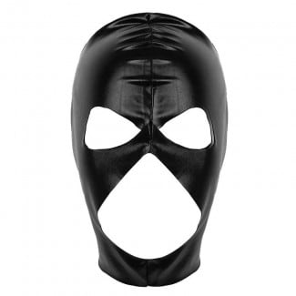 Patent Leather Open Eyes Nose and Mouth Headgear Full Face Mask Hood