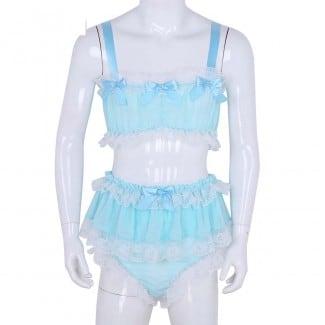 Ruffled Lace Sheer Chiffon Sleeveless Crop Top with Skirt