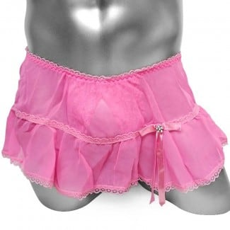 Ruffles Lace Sissy Panties With Crotchless Skirt