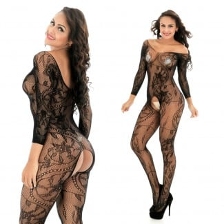 Flower Mesh Transparent Open Crotch Bodystocking 606