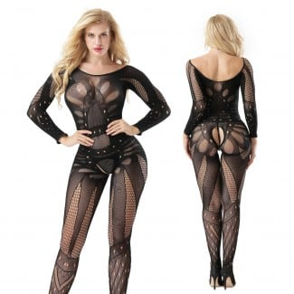 Lace Floral Full Bodystocking 8812