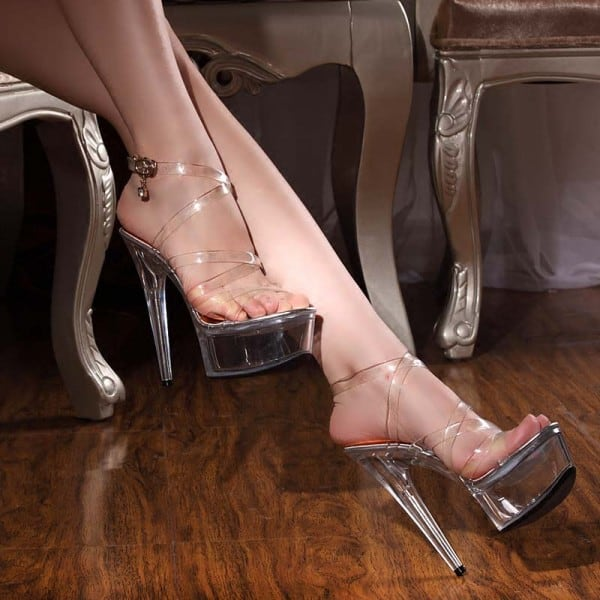 6 Inch Lace Clear Model Show Sandals