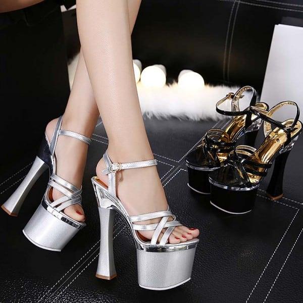 8 Inch Super High Heel Shiny Sandals