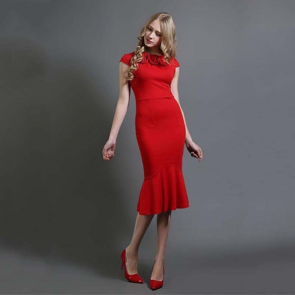 Solid Color Collar Slim Fishtail Dress