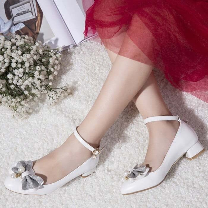 1 Inch Bow Knot Ankle Strap Bridal Pump