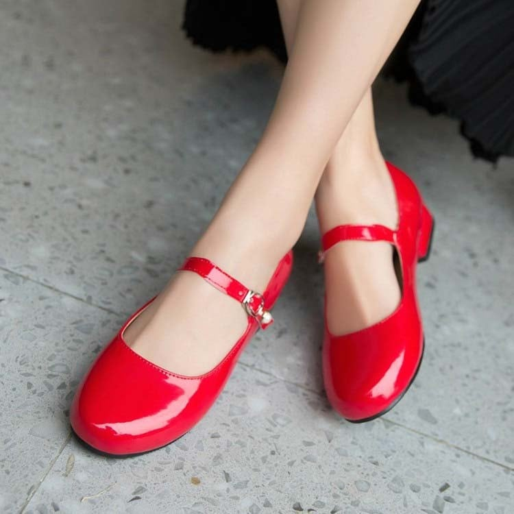 1 Inch Cute Round Toe Patent Leather Shallow Low Pump