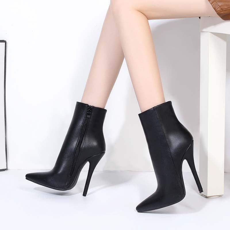 5 Inch Zipper Pu Ankle Boots
