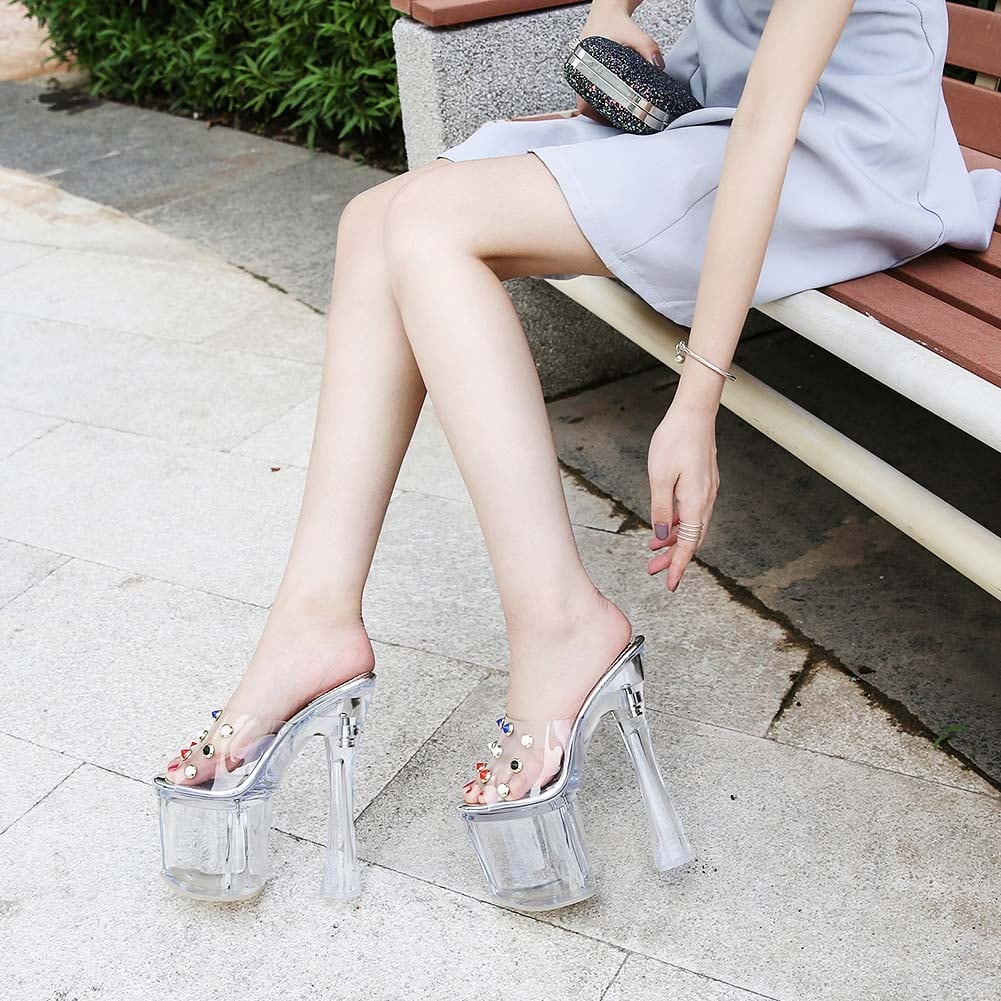 7 Inch Transparent Crystal Slippers