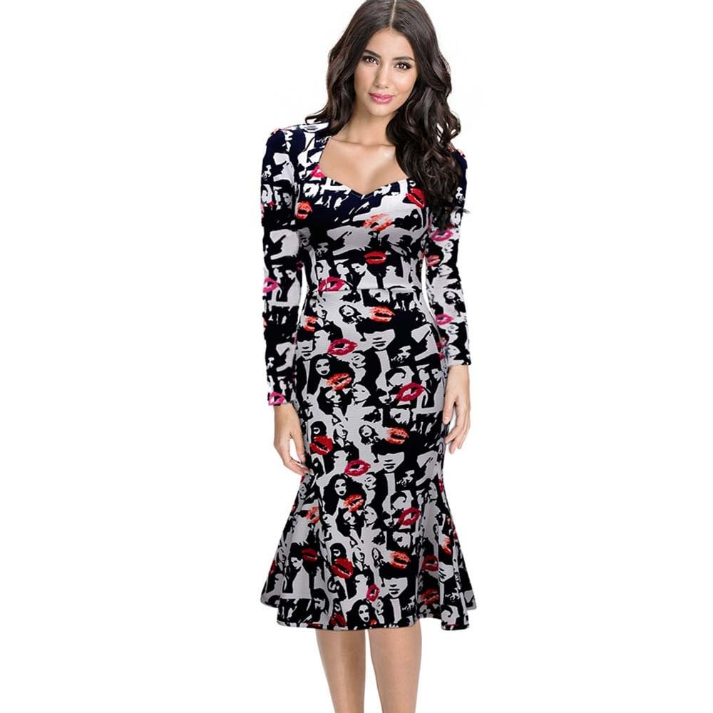 Floral Slim Hip Fishtail Dress