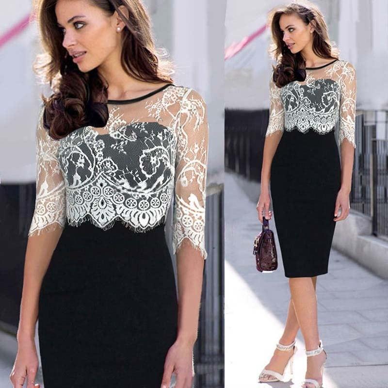 Round Neck Lace Transparent Dress