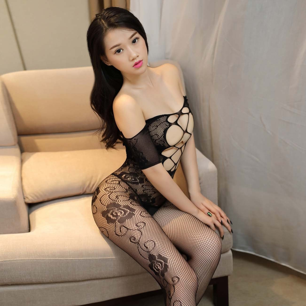 Sexy Perspective Open Crotch Bodystocking HDL24