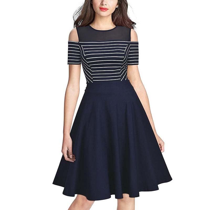 Striped Round Neck Strapless Short Sleeve Dress