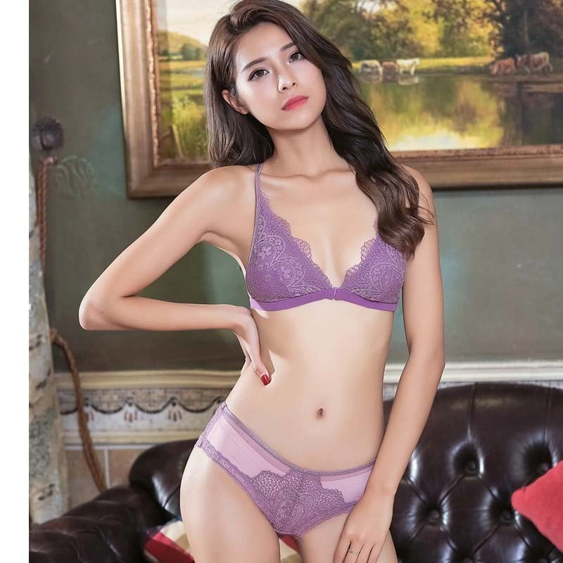 Women 's Push up Embroidery Full Bras Set Lace Lingerie Bra and Panties 1719