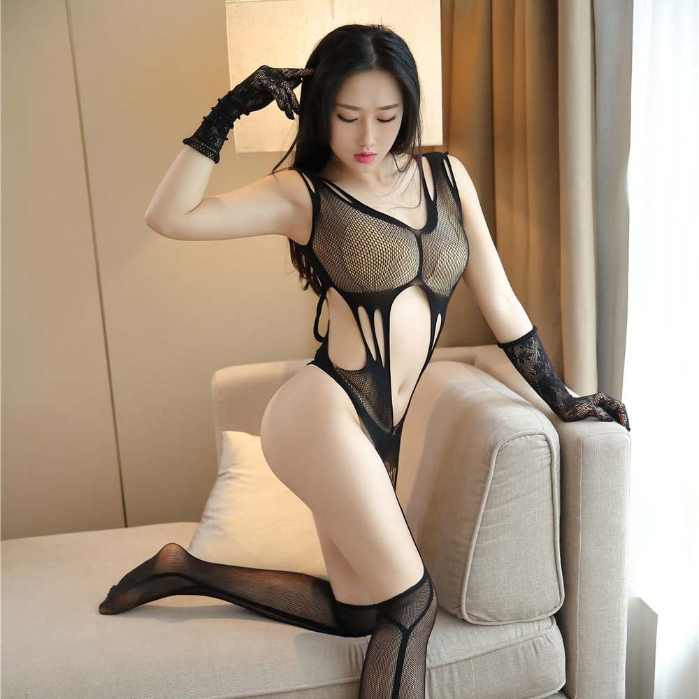 Hole Mesh Open Transparent Bodystocking 7104