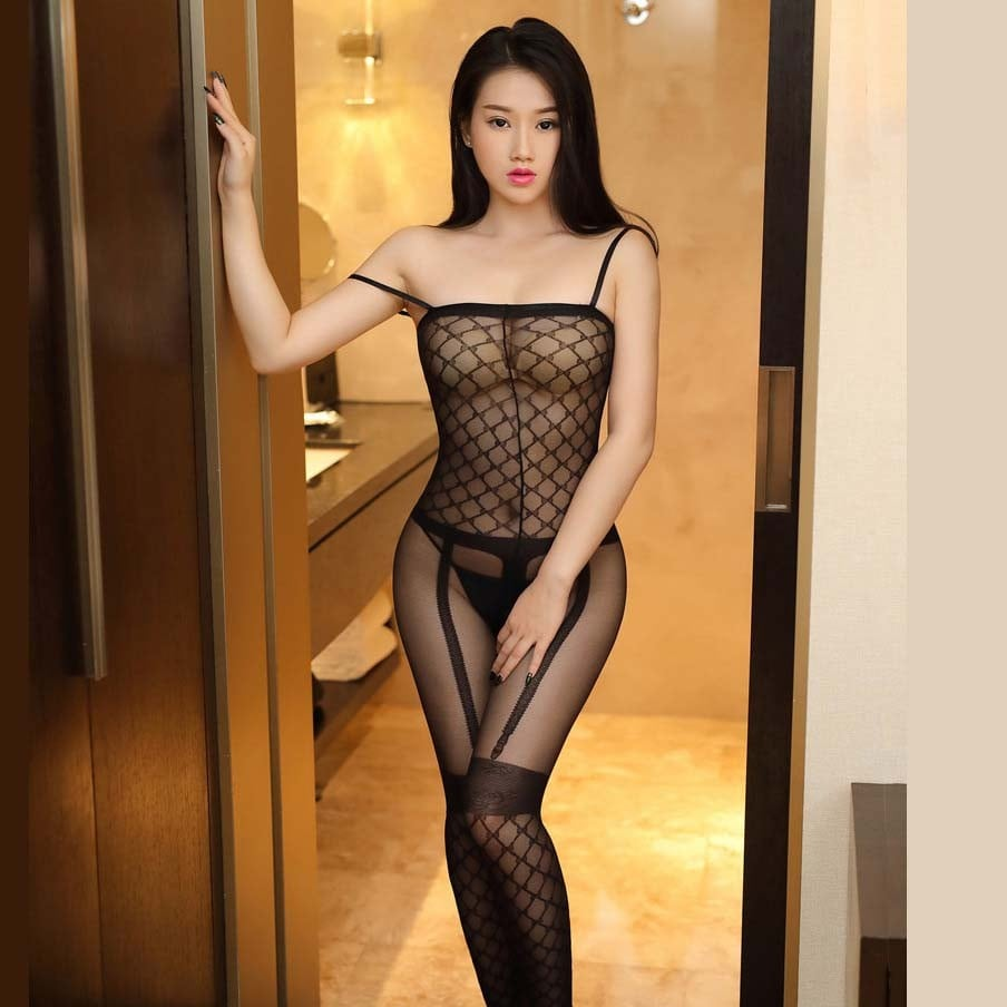 Mesh Sling Transparent Open Crotch Bodystockings 06106