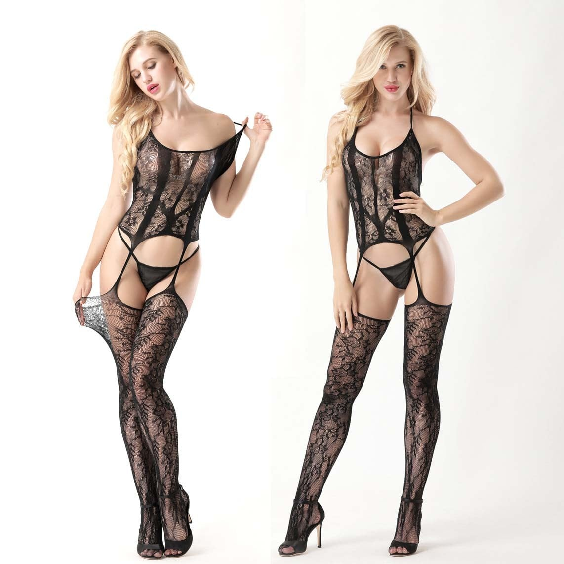 Sexy Perspective Garter Style Bodystocking 8972