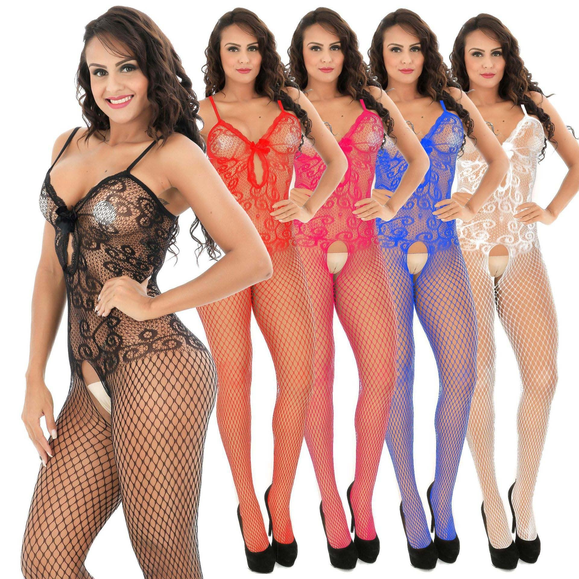 Sling Bow Hollow Open Color Bodystocking 1228