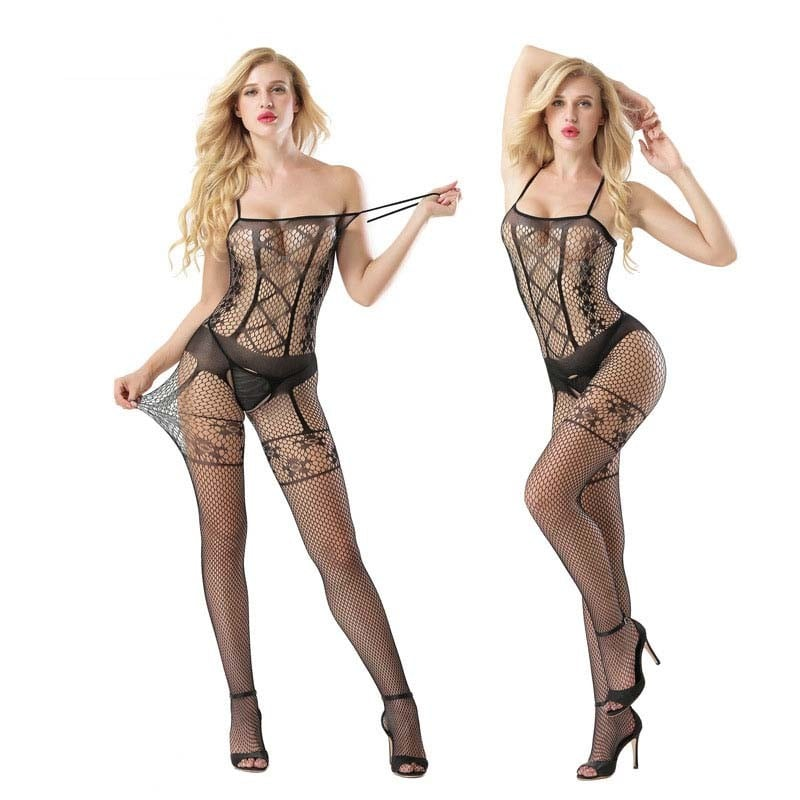 Sling Fishnet And Mesh Open Crotch Bodystocking 7013