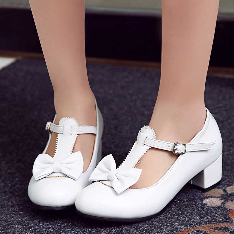 1 Inch Sweet Bowktie Lolita Mary Janes Ankle Strap Pump