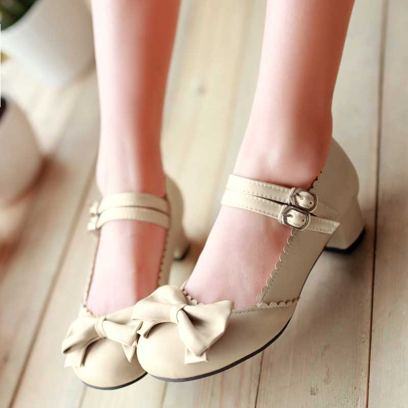 1.5 Inch Sweet Lolita Bow Strap Buckle Pump